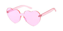 Women's Plastic Heart Color Block Sunglasses