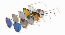 Women's Metal Wire Brow Frame Sunglasses w/ Color Mirror Lens