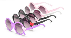 Kids' Plastic Round Frame with Butterfly Rhinestone Accent Sunglasses