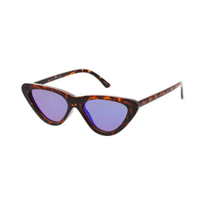 Women's Small Cat Eye Frame Sunglasses w/ Color Mirror Lens