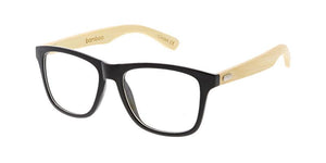 quare Frame Sunglasses w/ Bamboo Temples and Clear Lens
