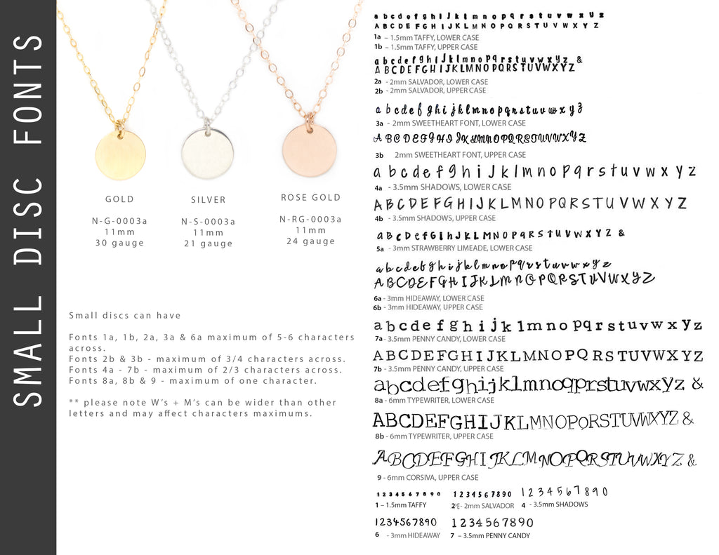 Ebb & Flow Jewelry Small Disc Fonts