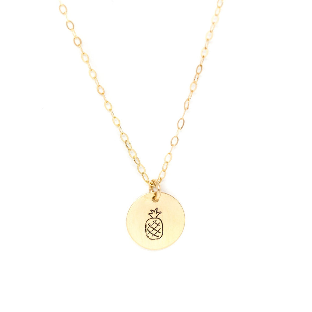 small gold disc necklace