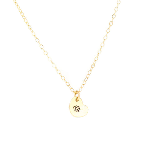 Tiny Heart Necklace - Gold Stamped
