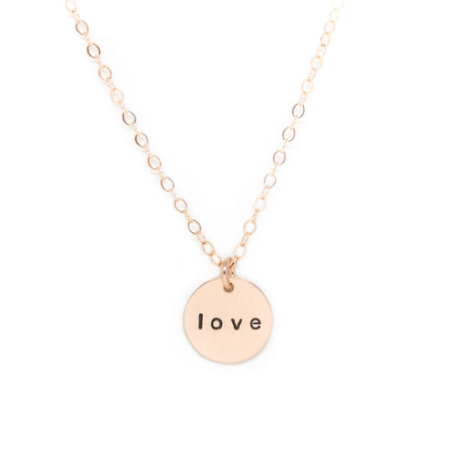 small rose gold disc necklace