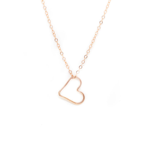 Floating Heart Necklace - Rose Gold