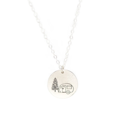 Large Disc Necklace - Silver