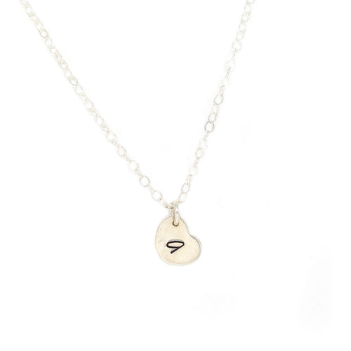 Tiny Heart Necklace - Silver Stamped