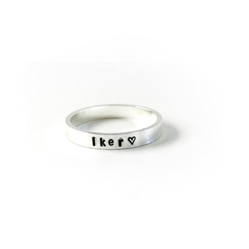 hand stamped silver ring