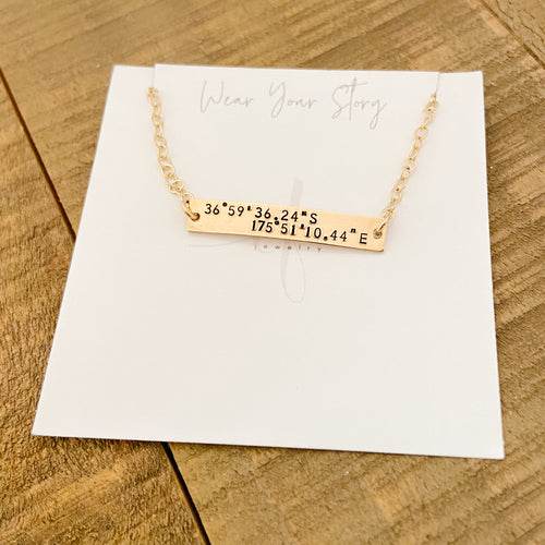Coordinates Nameplate Necklace
