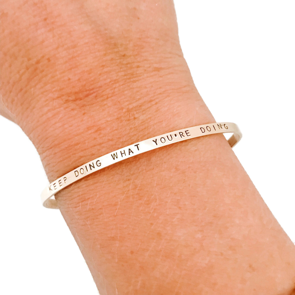 Hand Stamped Bracelet - Skinny Gold Filled