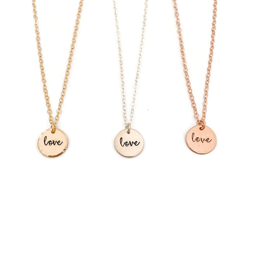 """love"" Small Disc Necklace"
