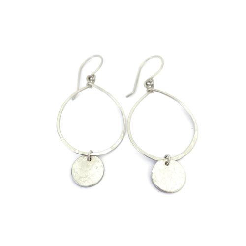Silver Hoop Earrings with Disc