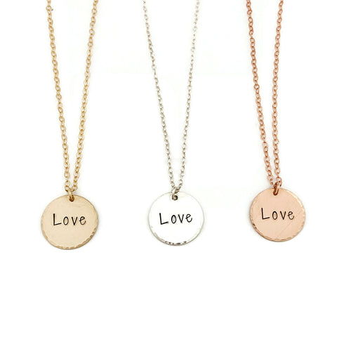 """Love"" Large Disc Necklace"