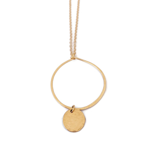 Gold Hoop Necklace with Disc