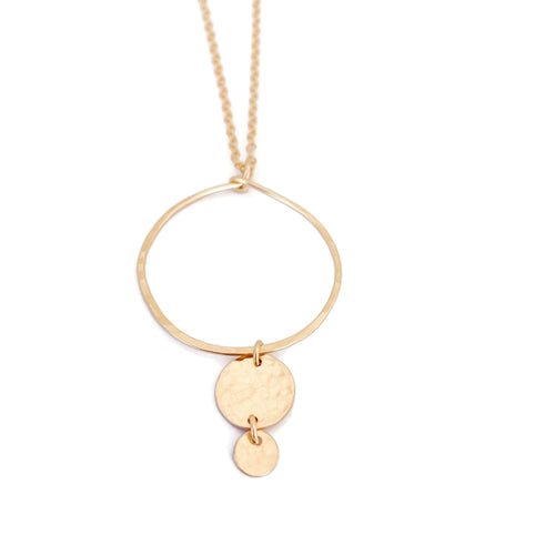 Gold Hoop Necklace with Two Discs