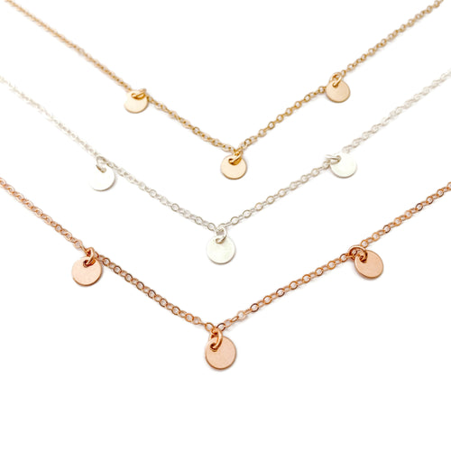 3 Tiny Disc Necklace