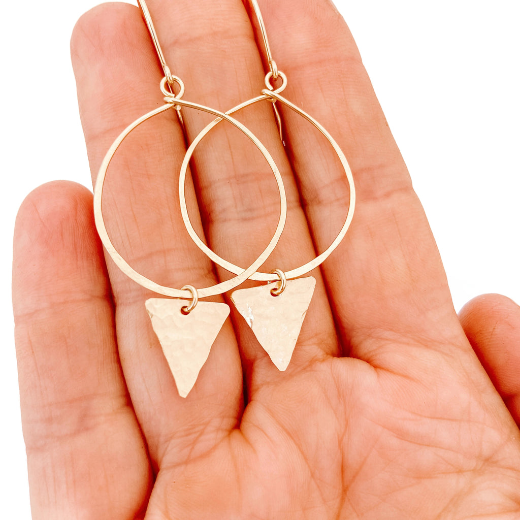 Gold Hoop Earrings with Triangle