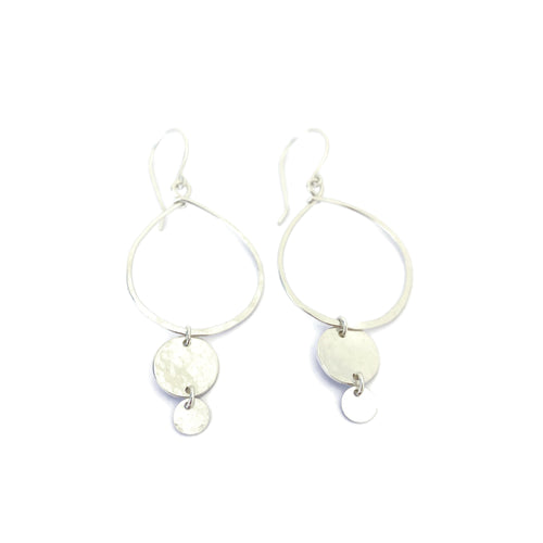 Silver Hoop Earrings with Two Discs