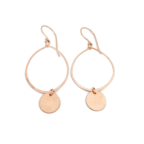 Rose Gold Hoop Earrings with Disc