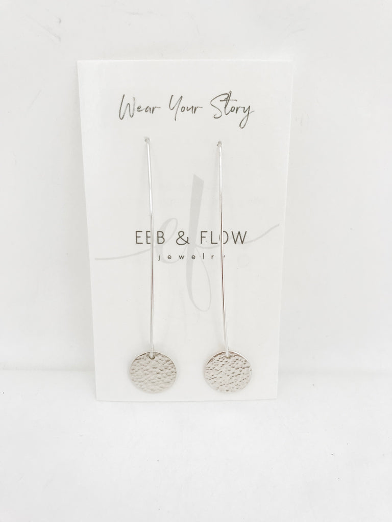 Silver Flow Earrings with Disc