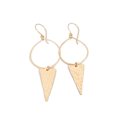 Gold Hoop Earrings with Large Triangle