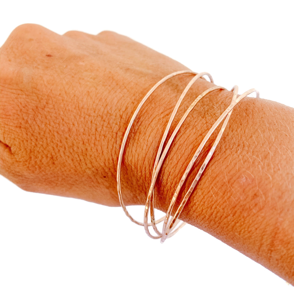 Skinny Rose Gold Bangles - set of 5