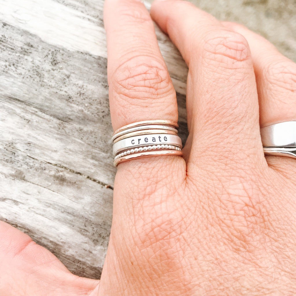 Rose Gold Stacker Ring - Hammered Band