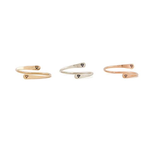 """2 Hearts"" Skinny Wrap Ring"