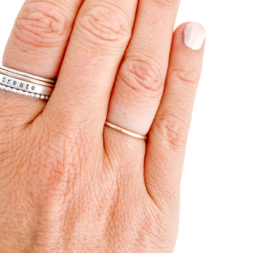 Gold Stacker Ring - Hammered Band