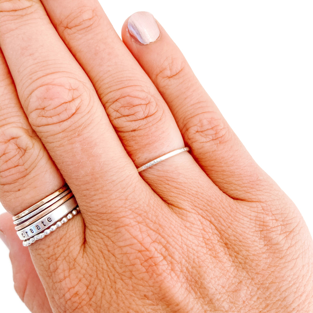 Silver Stacker Ring - Line Textured