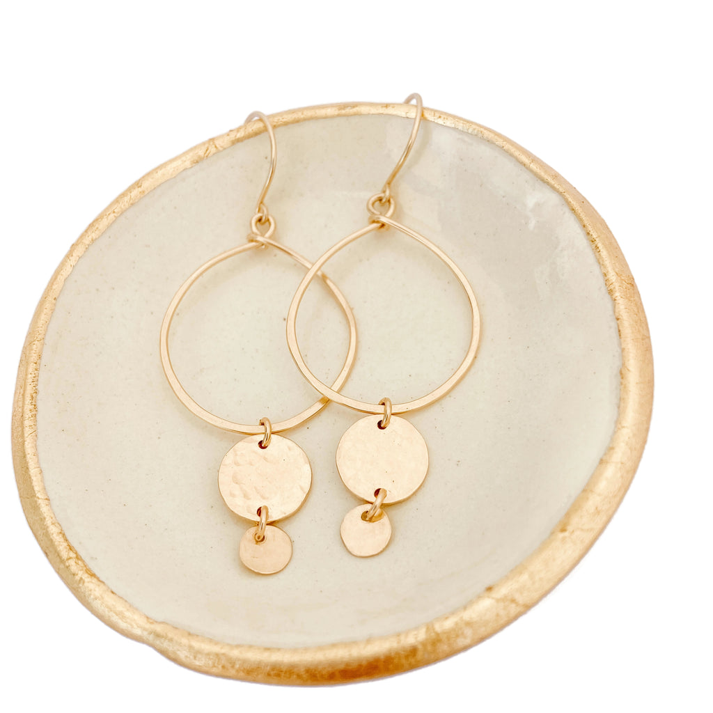Gold Hoop Earrings with Two Discs