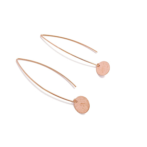 Rose Gold Flow Earrings with Disc