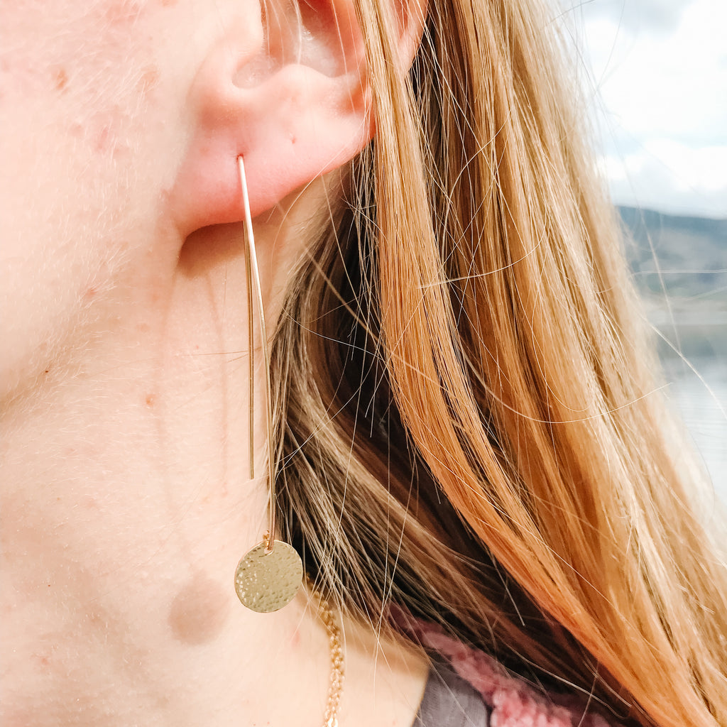 Gold Flow Earrings with Disc
