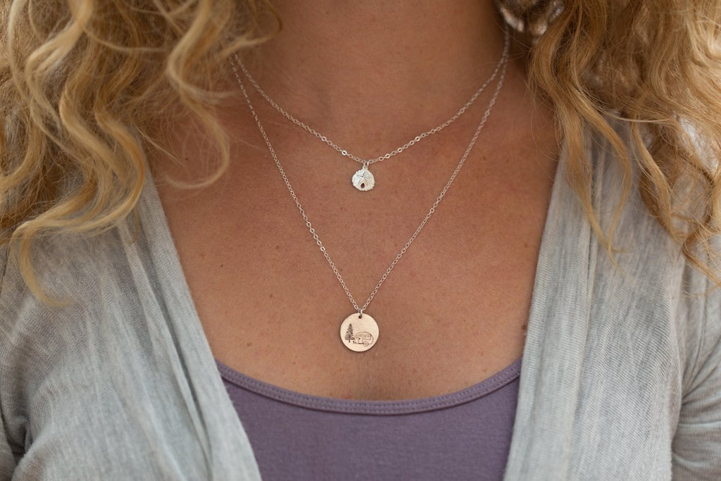 silver large disc necklace