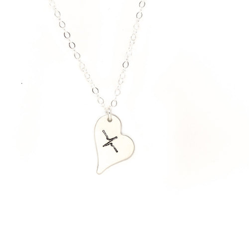 Wild Heart Necklace - Silver Stamped