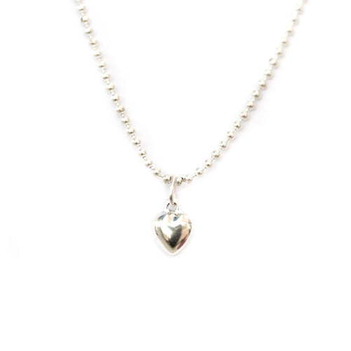 Puffed Heart Necklace - Silver