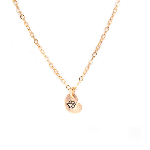 Tiny Heart Necklace - Rose Gold Stamped