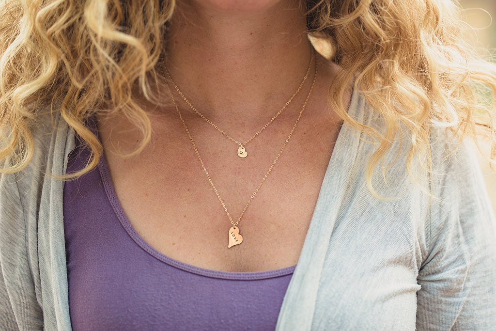 Stamped Tiny Heart Necklace