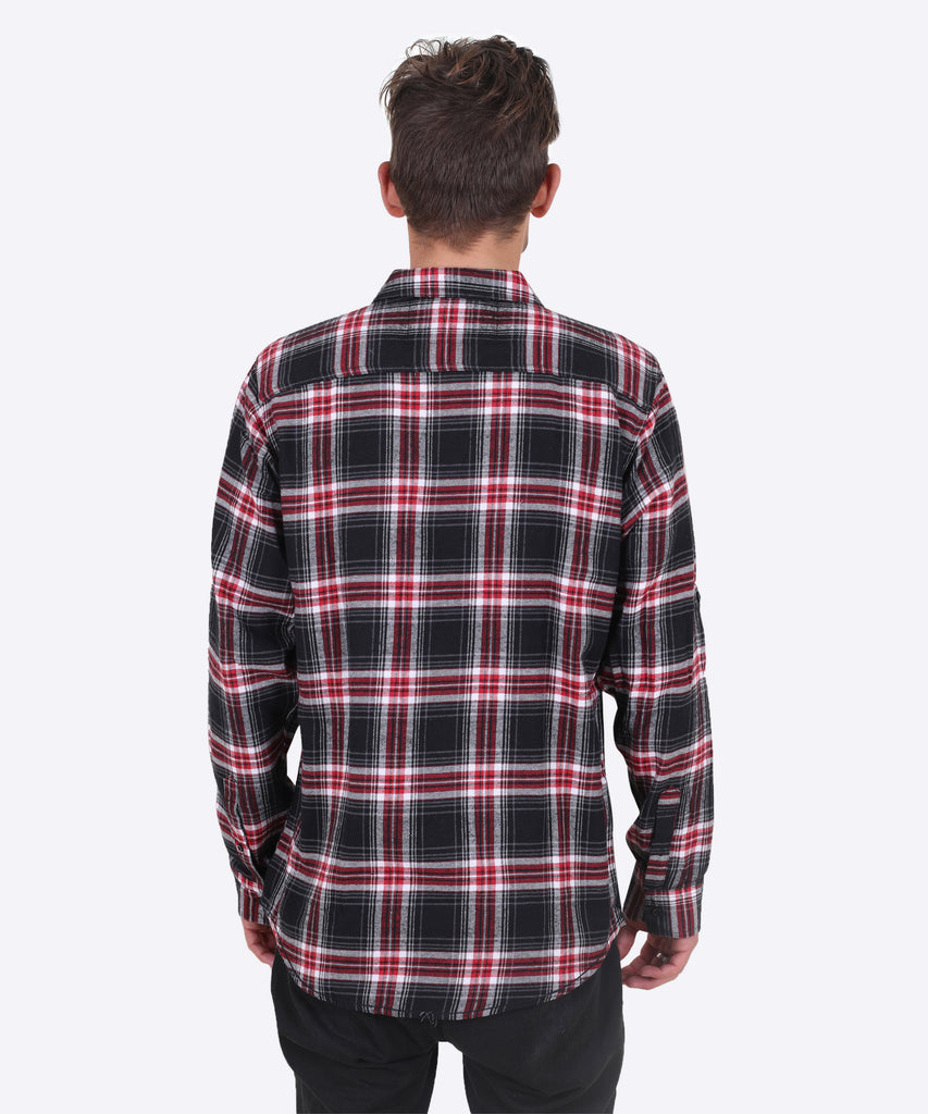 Fire Road Flannel - Red, Black, and White