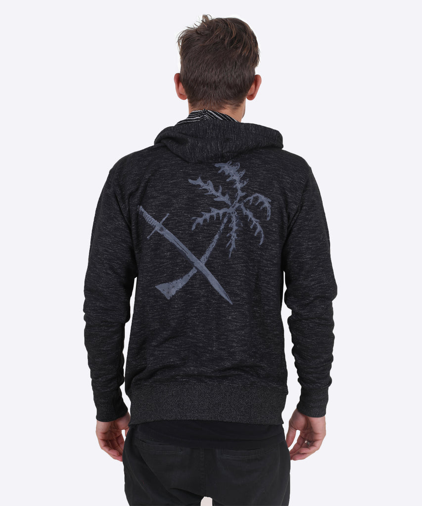 Treasure Island Zip Hoodie - Heather Black