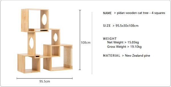 Wooden cat tree 4 squares product details
