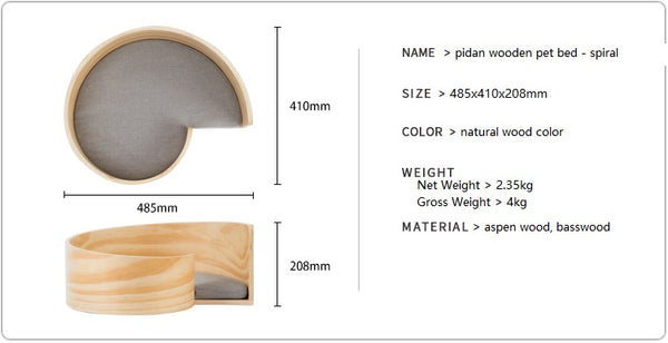 Wooden pet bed - spiral product info