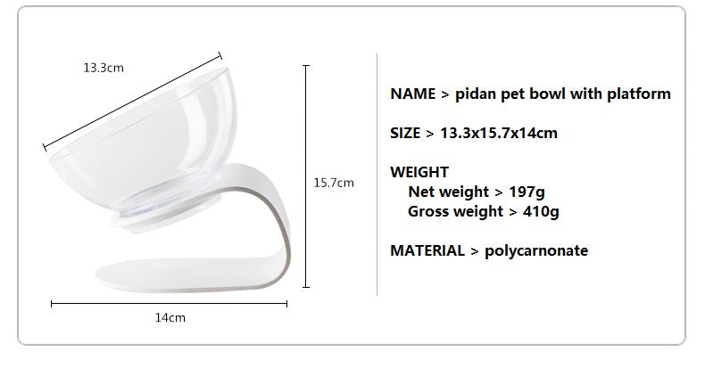 Pet bowl with platform product info