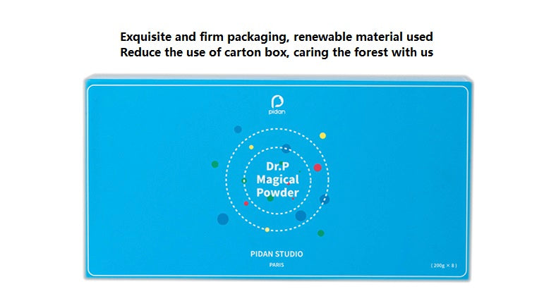 Dr. P magic powder packaging