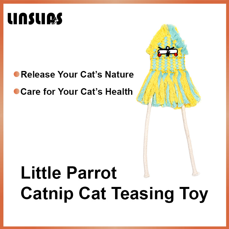 LINSLINS LITTLE PARROT CATNIP CAT TEASING TOY