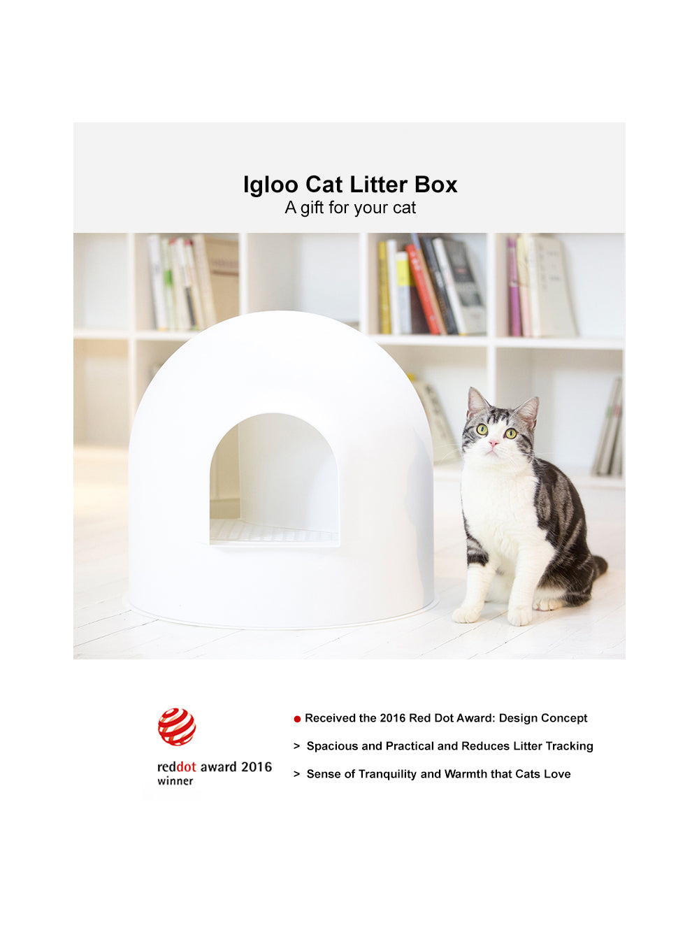 "pidan ""Igloo"" Cat Litter Box incl. litter scoop"