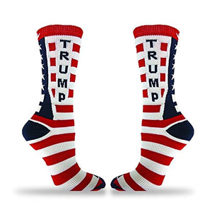 Republican Statement Socks Donald Trump American Flag Pattern Unisex Adult Crew Fashion Novelty Socks (Large) - RSPolitics Store