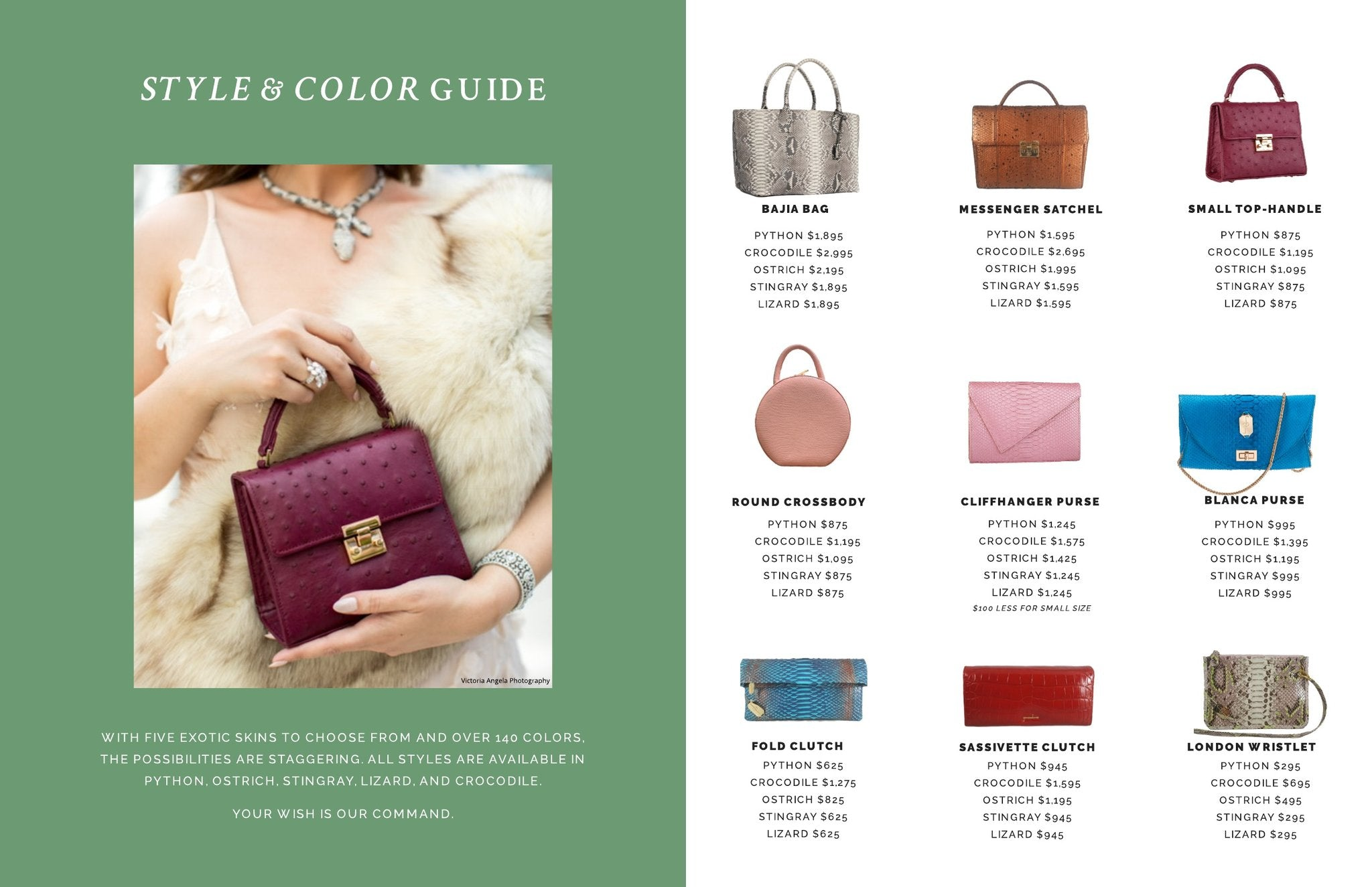 giovanna barrios, exotic skins, luxury handbags, exotic style and color guide
