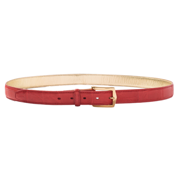 Belt in Red Alligator